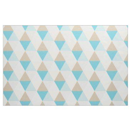 Trendy Aqua blue tan triangle geometric pattern Fabric