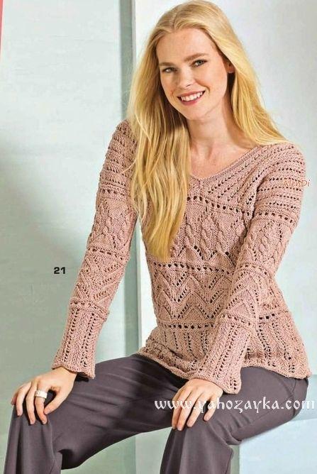 пуловер с V образным вырезом спицами женский пуловер с V образным
