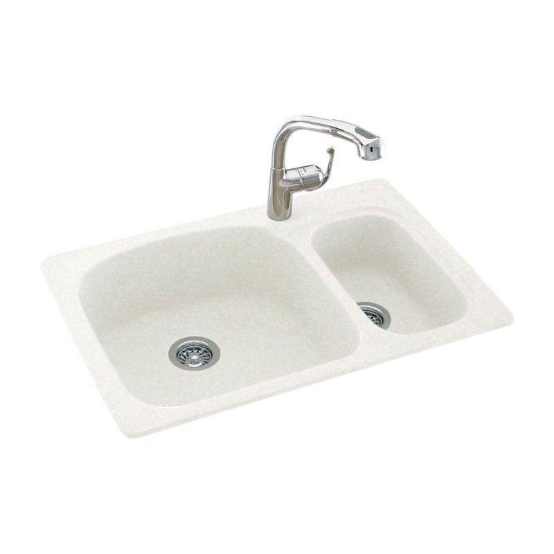 Swanstone KS03322LS Double Basin Drop In/Undermount Kitchen Sink ...
