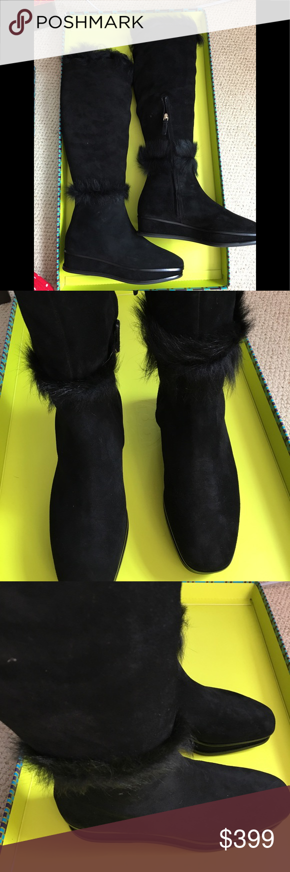 9d1b3792b Tory Burch boots Tory Burch marcel fur boot in black suede . New in box  with bag. Size 7 Tory Burch Shoes Heeled Boots