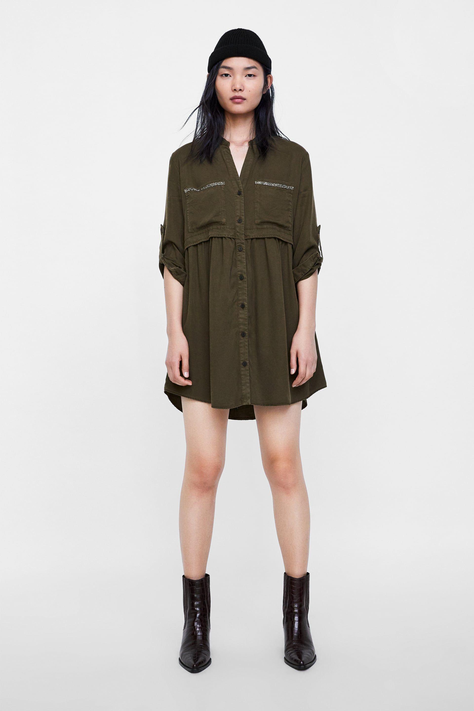 Cos green dress 2018  Image  of BEADED SHIRT DRESS from Zara  C in   Pinterest