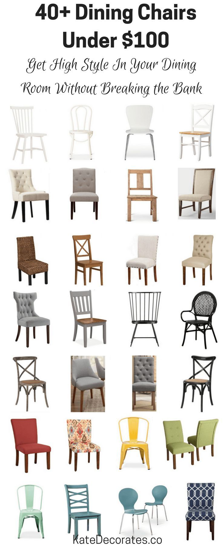 40 Affordable Dining Chairs Under $100  Dining Chairs Kitchens Glamorous Cheap Dining Room Sets Under 100 Review