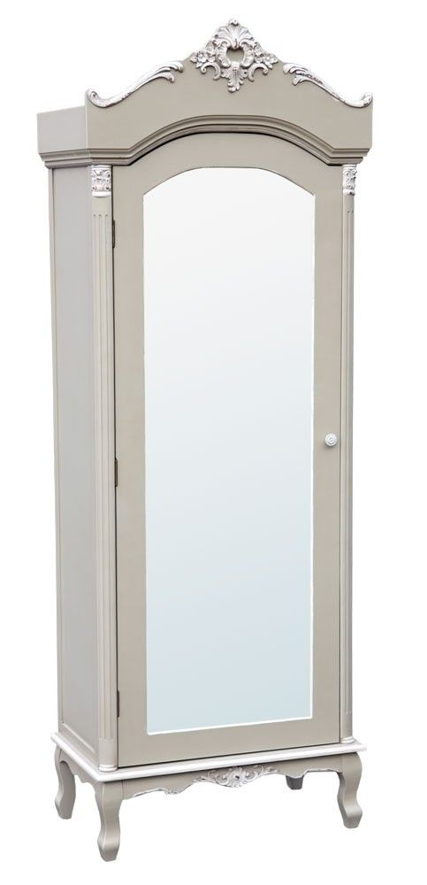 Merveilleux Grey Single Door Mirrored Wardrobe