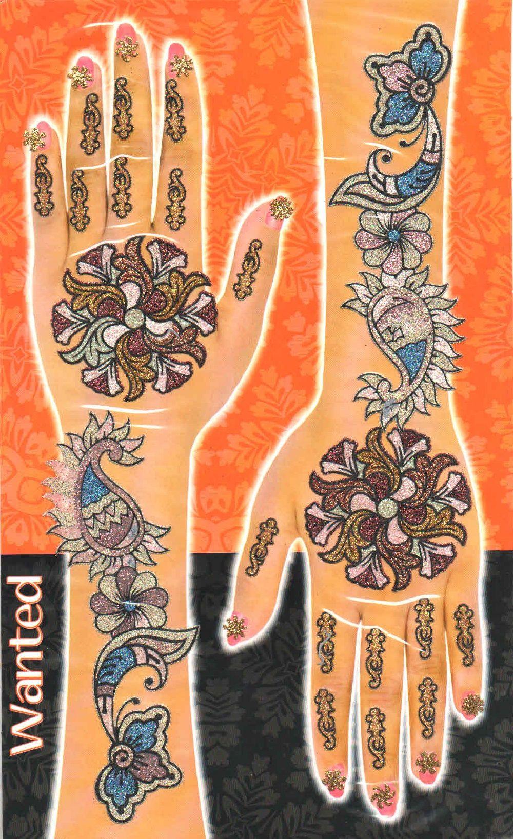 Glimmering Mehendi Tattoos Multicolor Set 03 Hand
