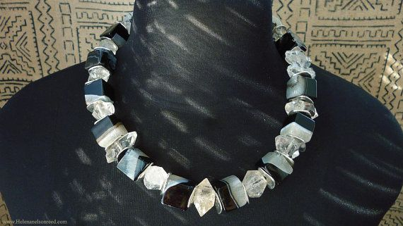 Striking black agates double point crystals by MorningDoveDesign, $135.00