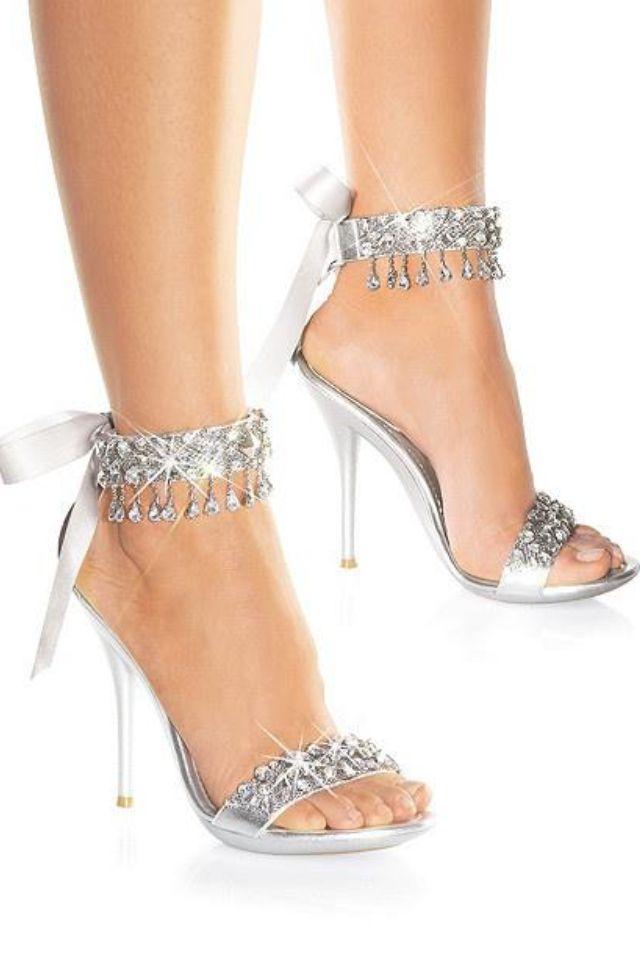 1e65aca025c Silver stilettos   ideas   Rhinestone wedding shoes, Shoes y ...