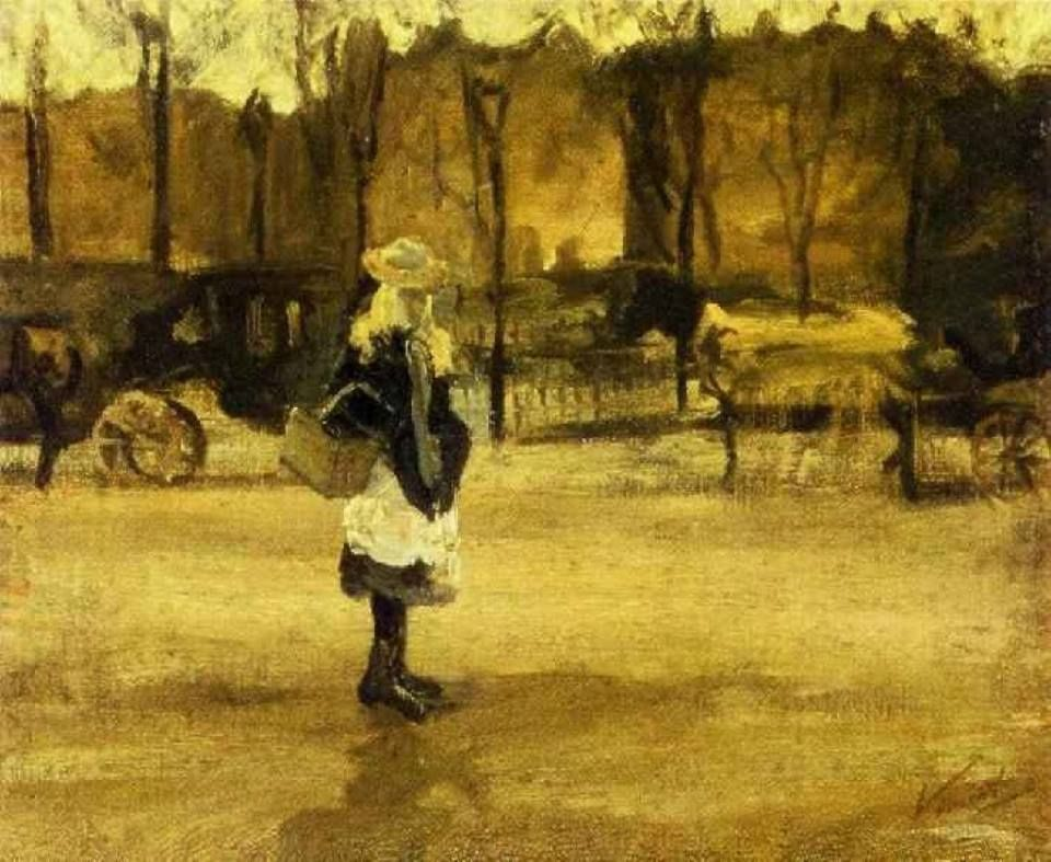 Vincent van Gogh (Dutch, Post-Impressionism, 1853-1890): A Girl in the Street, Two Coaches in the Background, 1882. Early work, Created in The Hague, Netherlands. Ink, watercolor on paper. 53 x 42 cm. Villa Flora Winterthur, Winterthur, Switzerland.