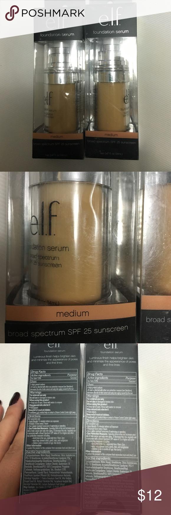 Lot of 2 elf medium foundation serum New! ELF Makeup Foundation