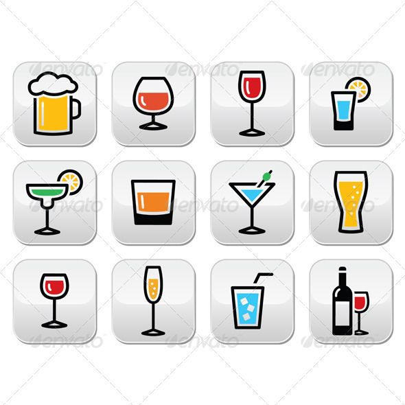 Drink Colorful Alcohol Beverage Buttons Set | Fonts-logos-icons