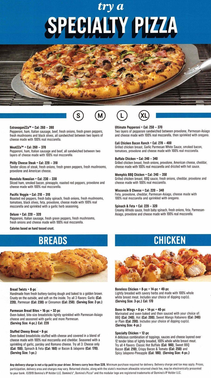Domino S Pizza Menu Slc Menu In 2021 Pizza Menu Dominos Pizza Domino S Pizza