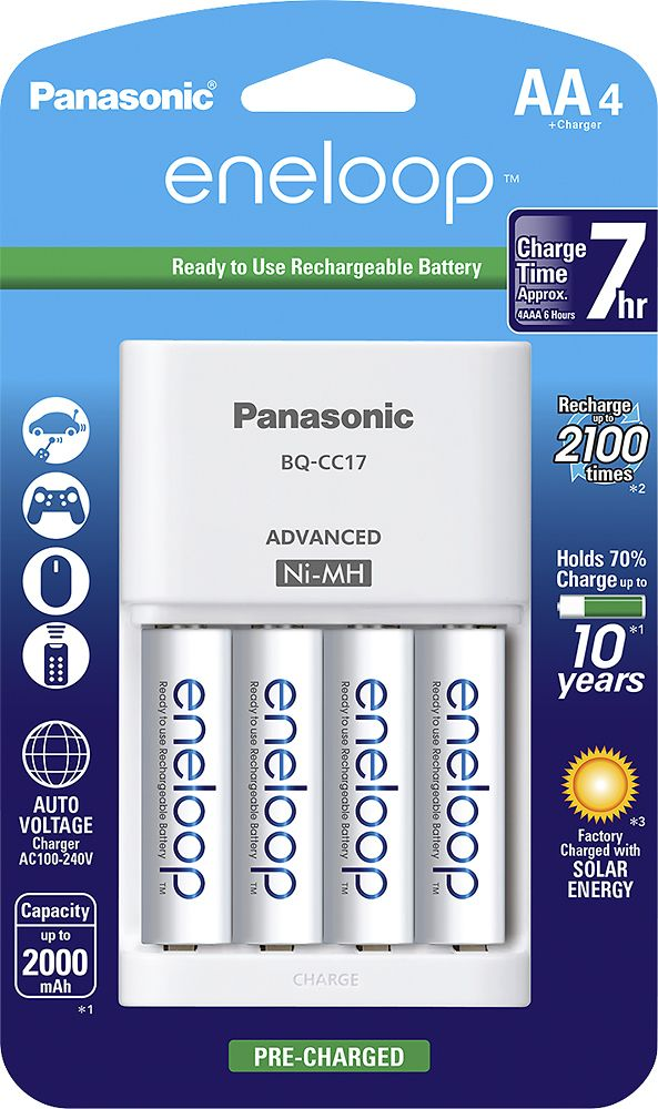 Panasonic Eneloop Charger And 4 Aa Batteries Kit White K Kj17mca4ba Best Buy Rechargeable Batteries Battery Charger Panasonic