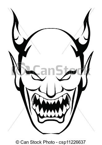 Vectors Of Demon Head Csp11226637 Search Clip Art Illustration