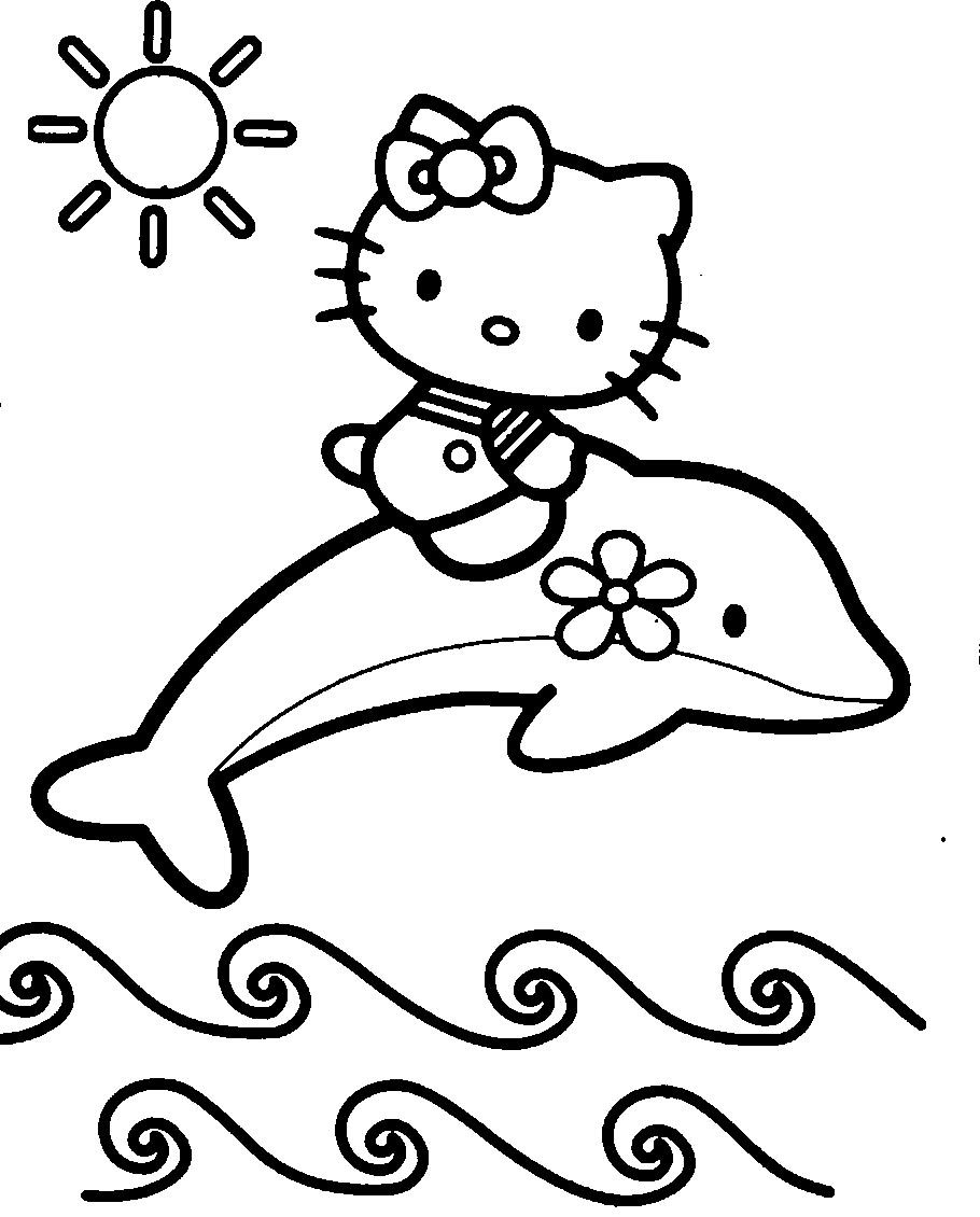 Hello kitty with dolphins coloring page