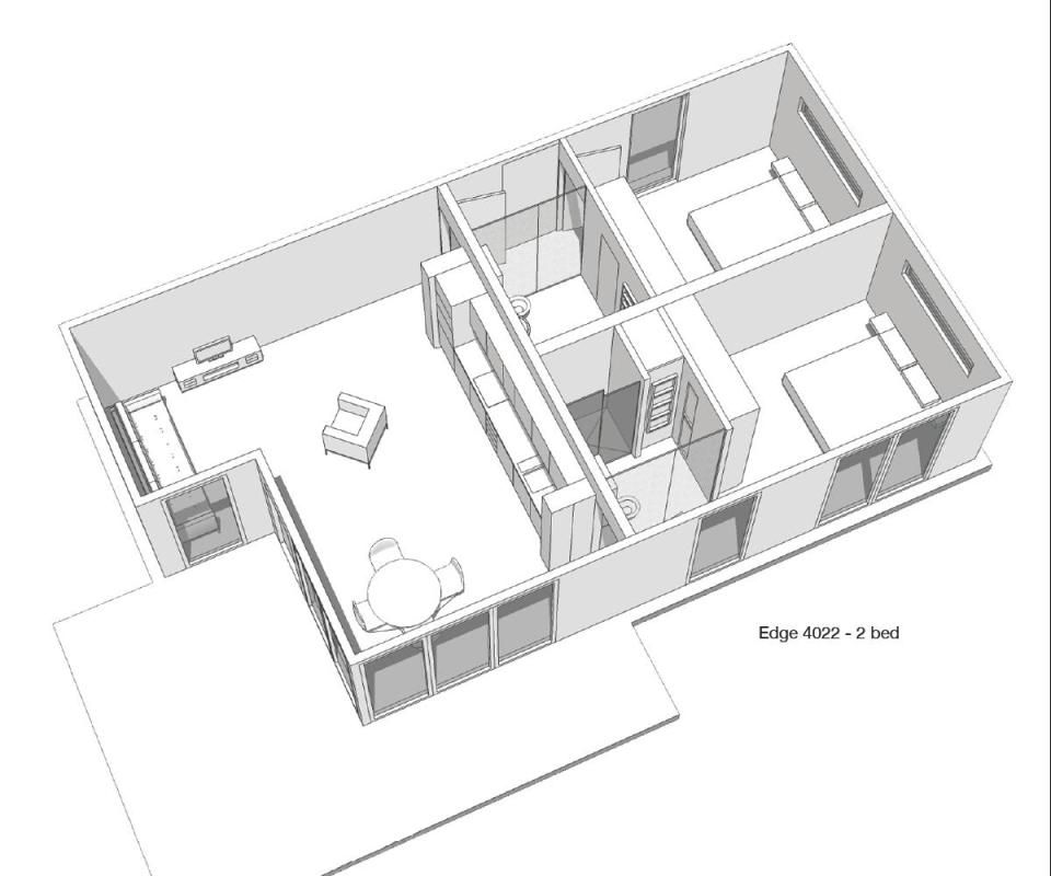 Floor plan of the Edge modular home by Boutique Modern at Penmayne – Modern Modular Homes Floor Plans