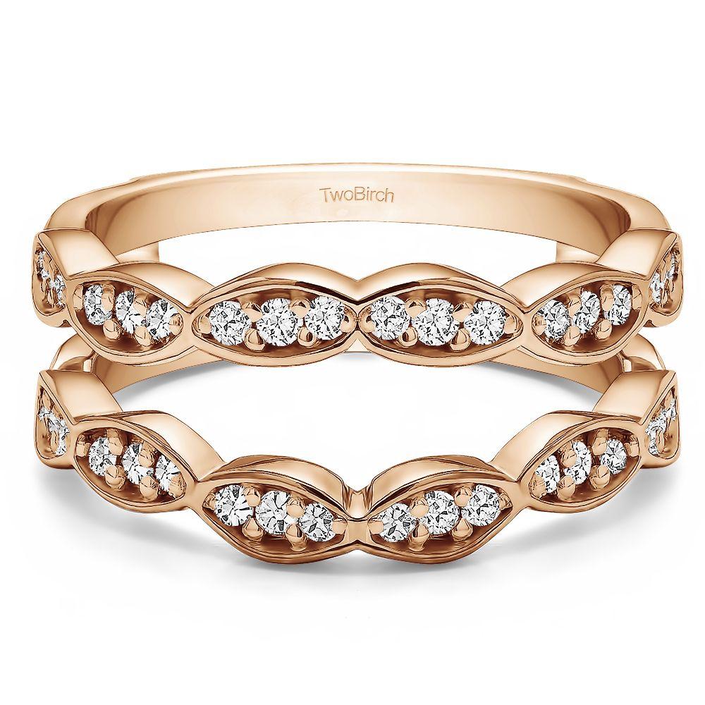 Vintage wedding ring guard enhancer ct twt rings round