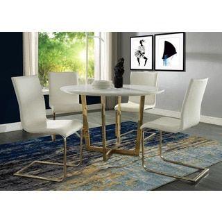Shop For Maxim White Marble Dining Table Get Free Shipping At Overstock