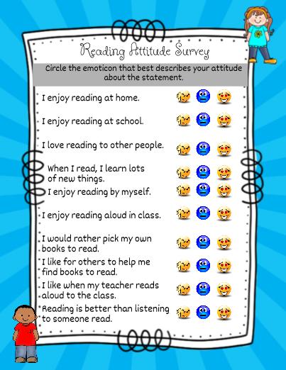 Reading Attitude Survey   Reading survey, Reading interest ...