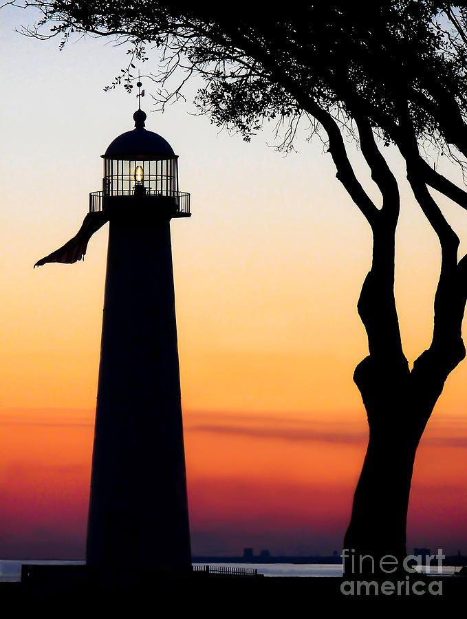 Biloxi Lighthouse At Dusk By Joan Mccool Biloxi Lighthouse