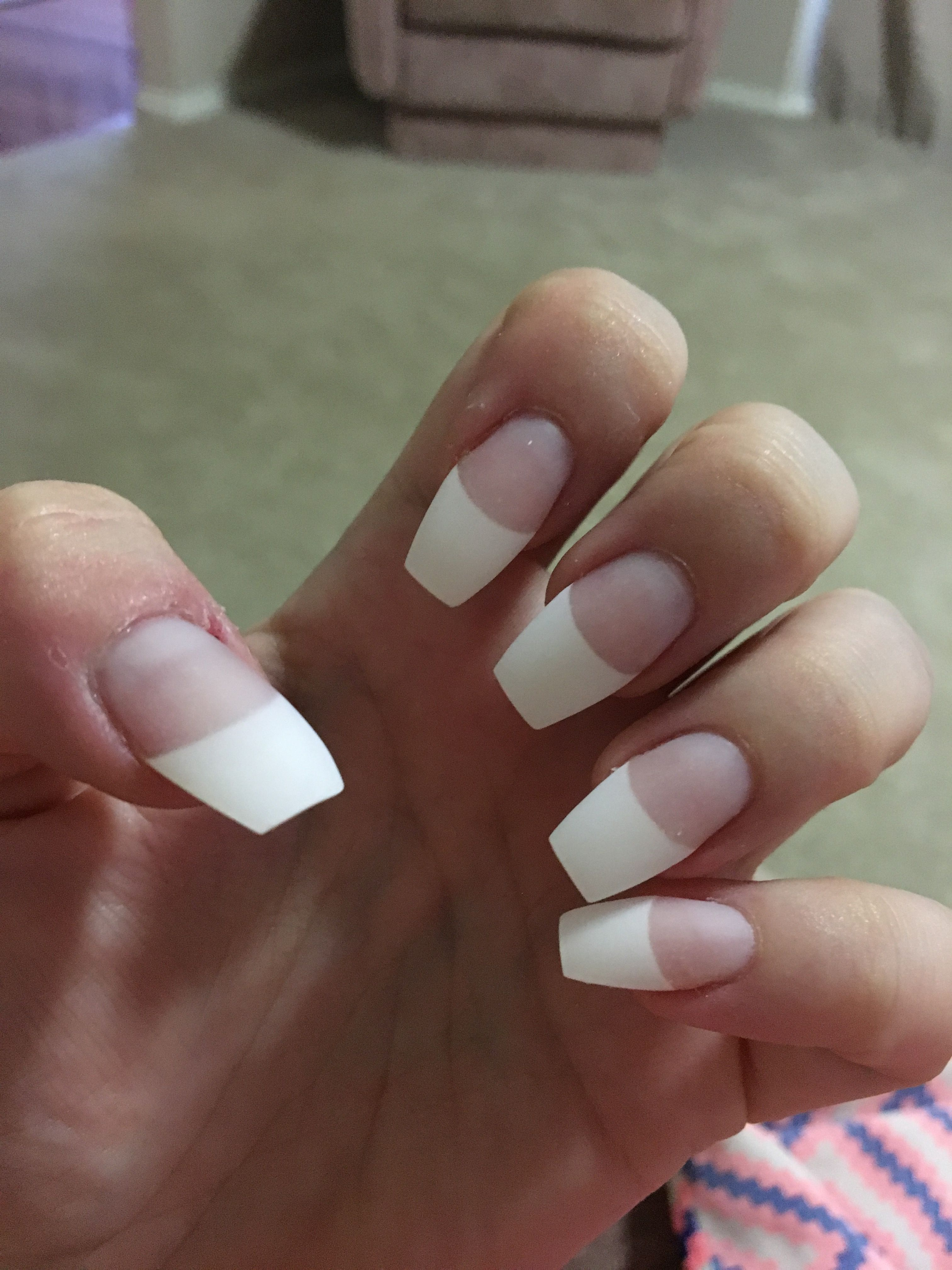 Matte French tip coffin nails   nails   Pinterest   Coffin nails