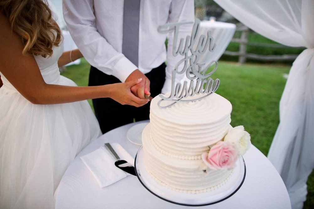 Bliss Maui Wedding Cake With Name Topper Anna Kim Photography