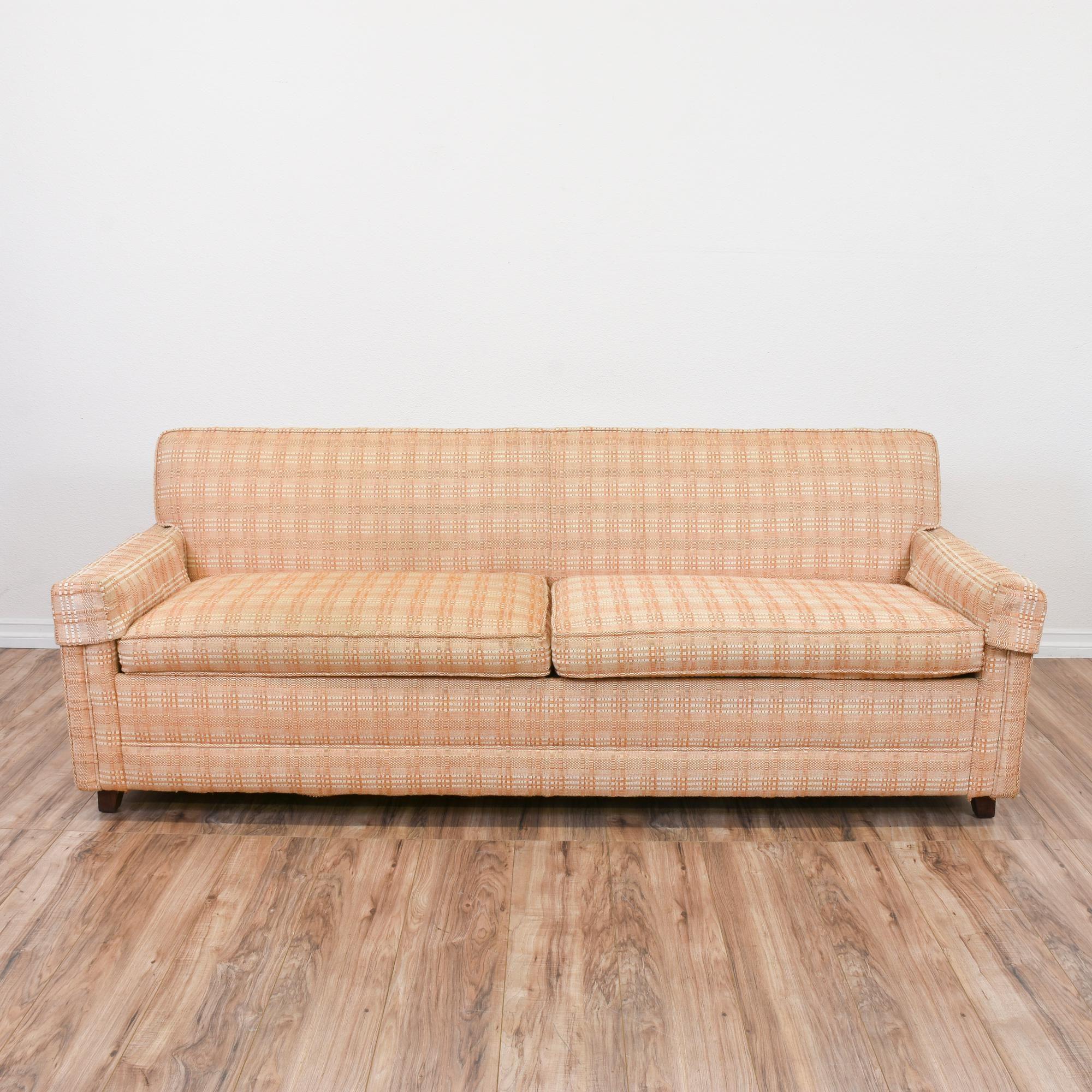 Plaid Peach Mid Century Modern Sofa Bed 2