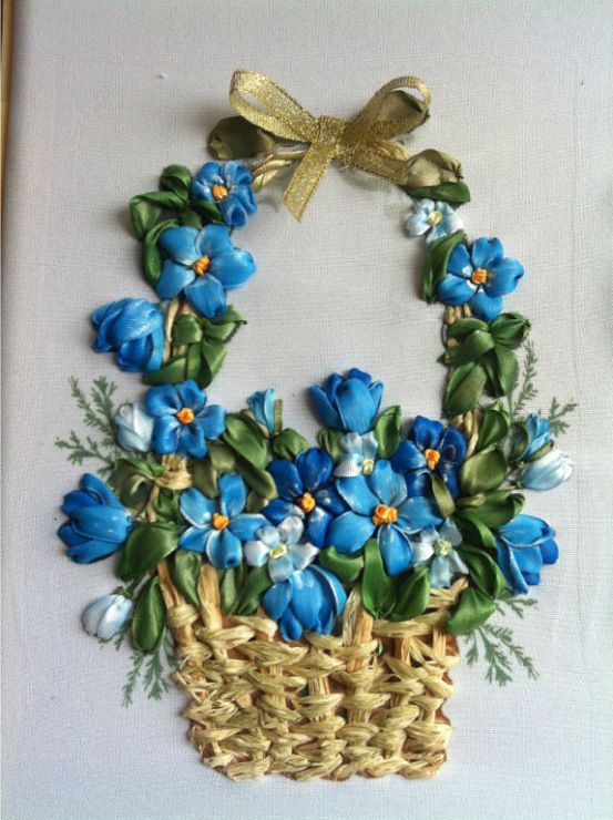 Blue flowers in a basket ribbonembroidery ribbon