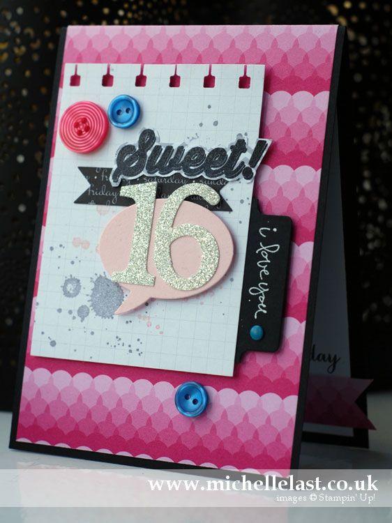 Sweet 16 Birthday Card Using Sweet Taffy Designer Paper With