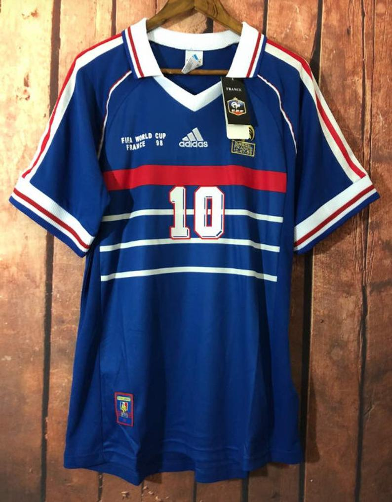 Retro France 1998 World Cup Final Zidane Soccer Jersey Vintage Etsy In 2020 Classic Football Shirts Retro Football Shirts Sports Jersey Design