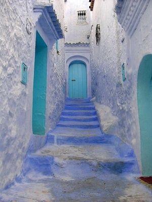 Turquoise Door Blue White Hues by Digirrl