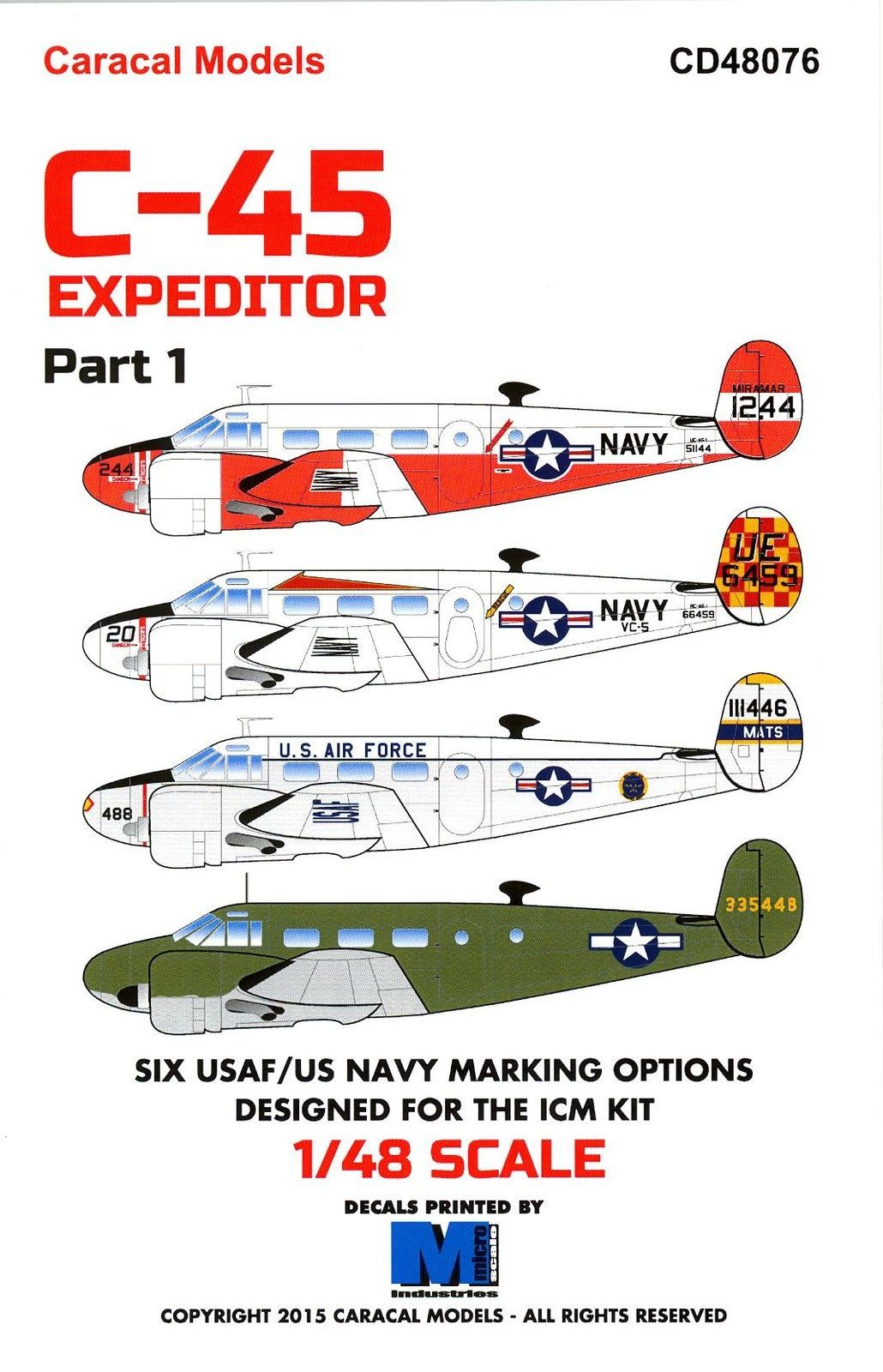 Caracal Decals 1 48 Beechcraft C 45 Expeditor U S Navy U S A F Part 1 Caracal Usaf Navy