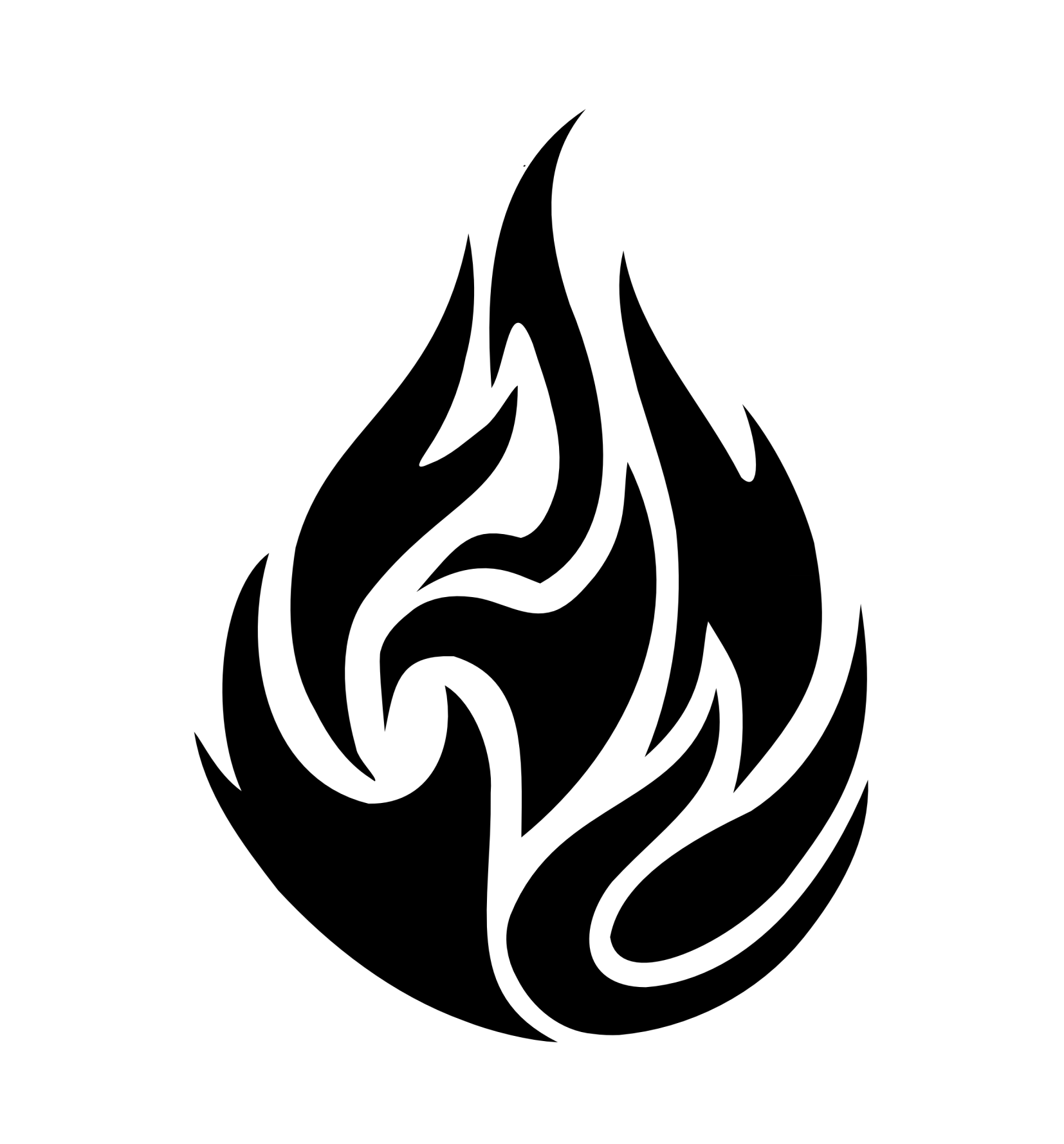 Flame Clipart Black And White Free Simbol Png Hitam
