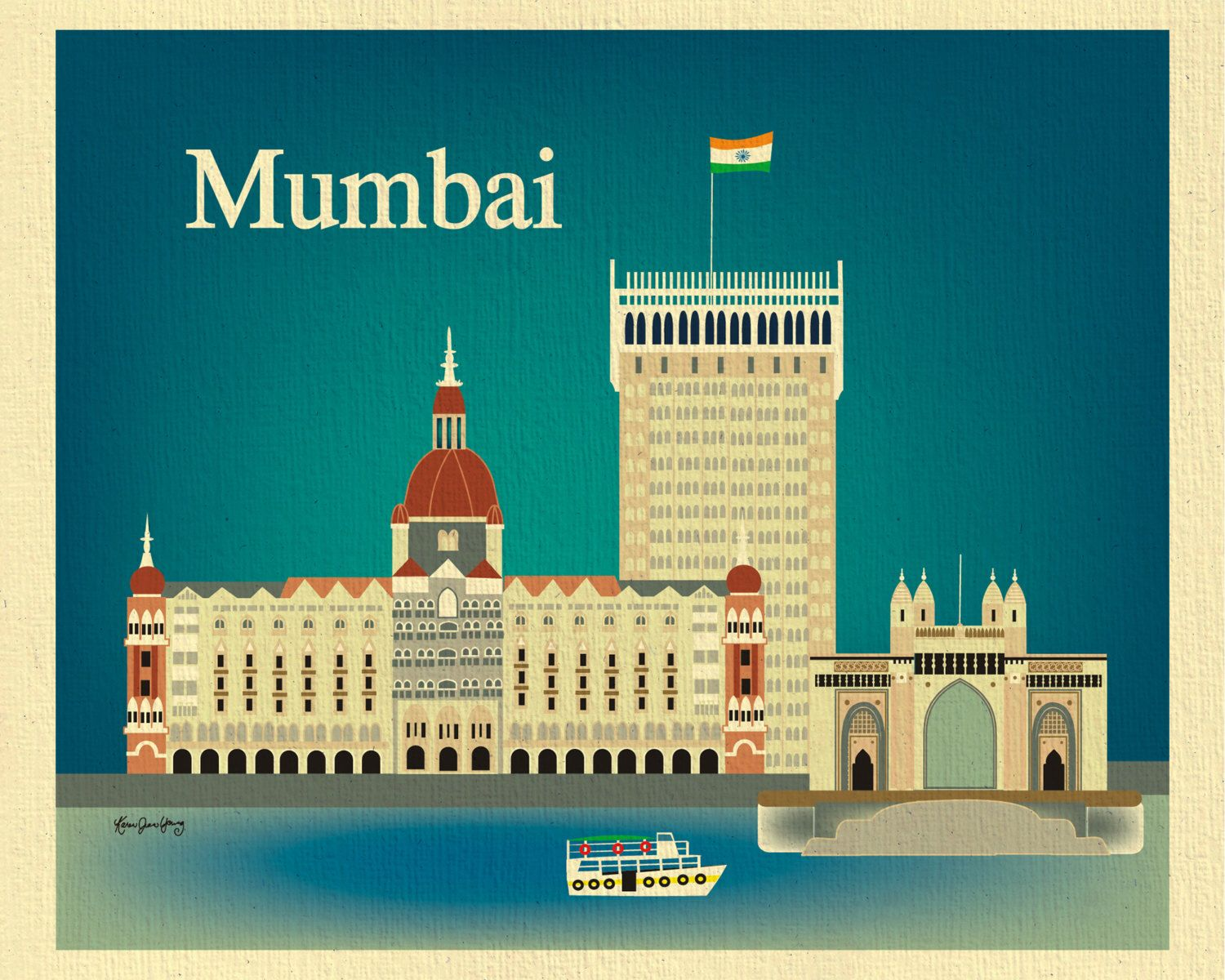 Mumbai Print Skyline Art, India Travel Poster, Gateway of Mumbai ...