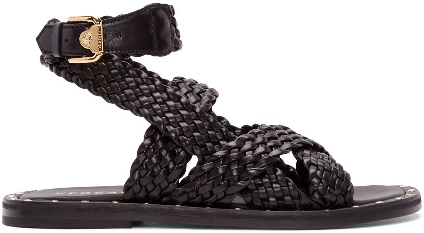 4974981a202e Versace - Black Braided Leather Sandals   The Art of Shoes   Sandals ...