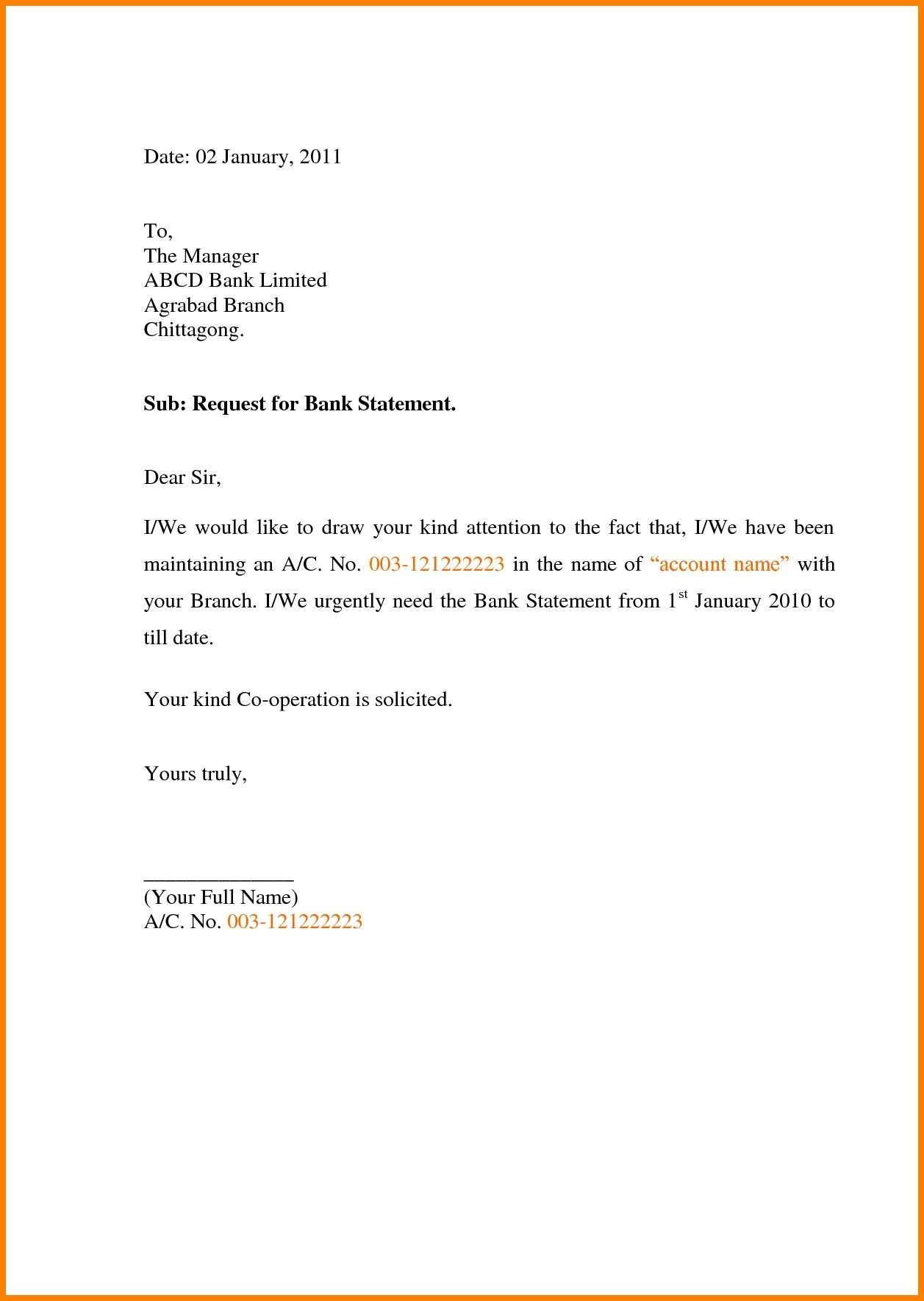 Letter Format To Bank Manager For Bank Statement Fresh Bank Statement Request Letter Format In Word Application Letters Bank Statement Letter Writing Format