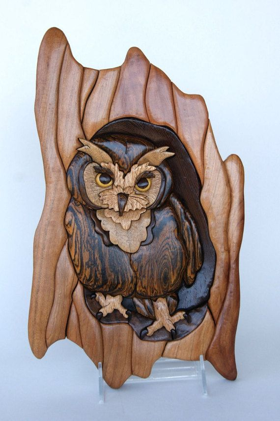 Screech owl intarsia wall hanging wood carving by