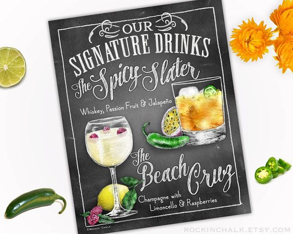 Wedding decoration beach wedding signature drink sign dual wedding decoration beach wedding signature drink sign dual drinks personalized weddings parties events made to order all custom junglespirit Gallery