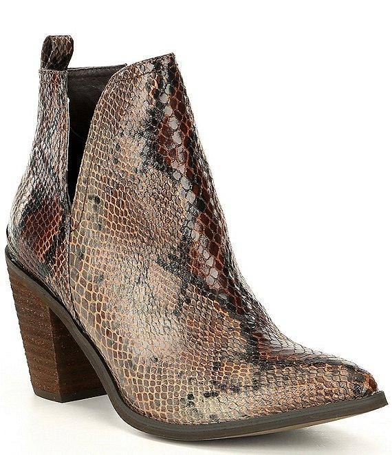 Volatile Mumba Snake Print Western Block Heel Booties   Dillard's #snakeprints