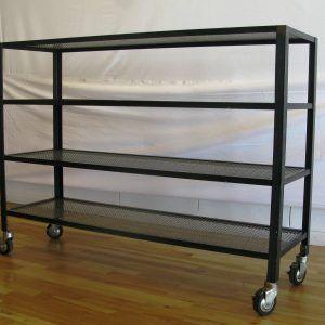 Metal And Wood Shelves On Wheels