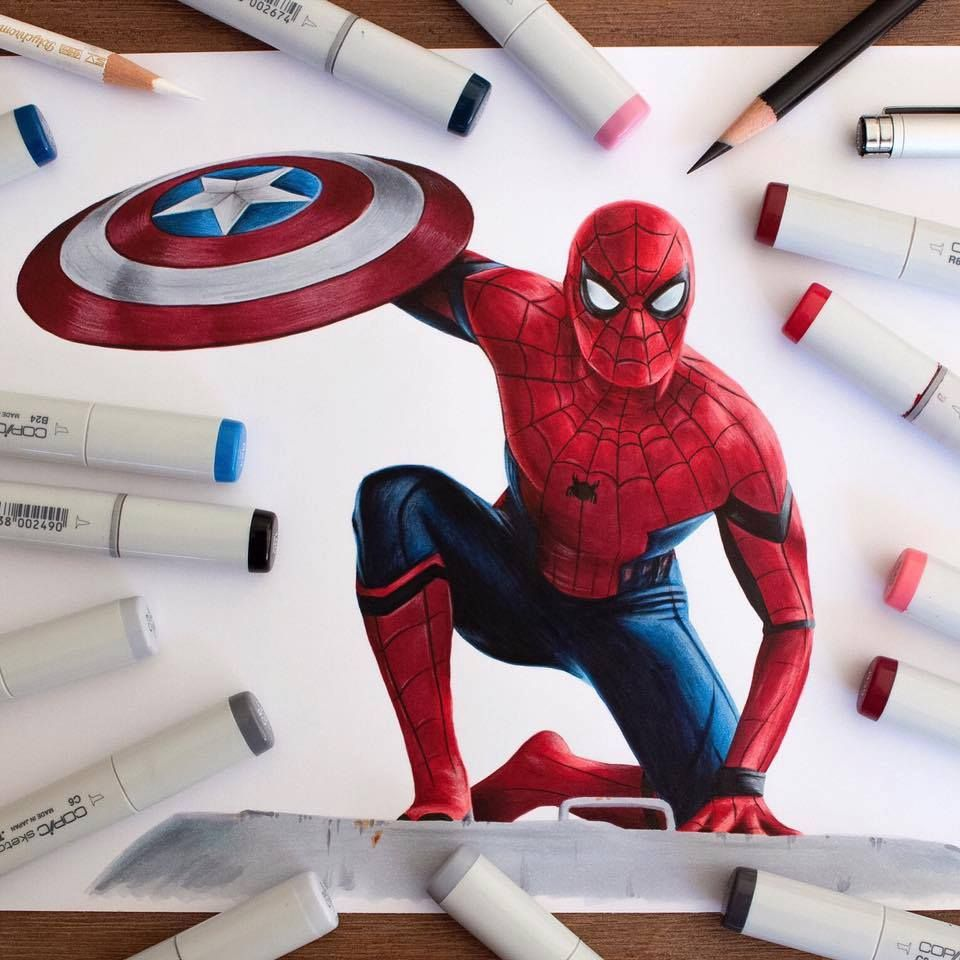 50 Beautiful Color Pencil Drawings From Top Artists Around The World Spiderman Drawing Marvel Art Drawings Marvel Drawings