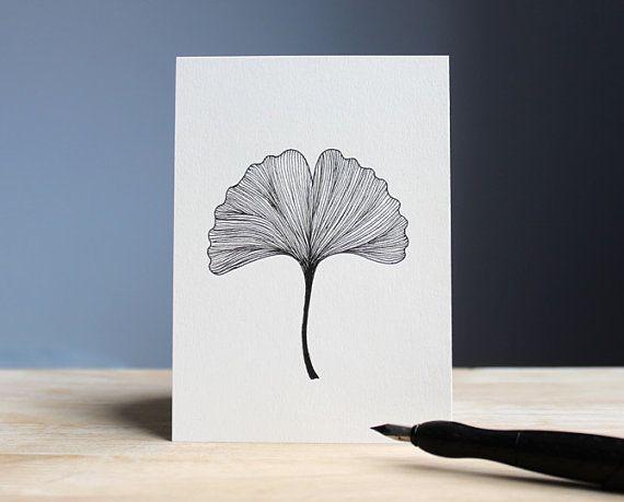 Hand drawn postcard GINKGO 105 x 148 cm // ink door BelleAccessoires.