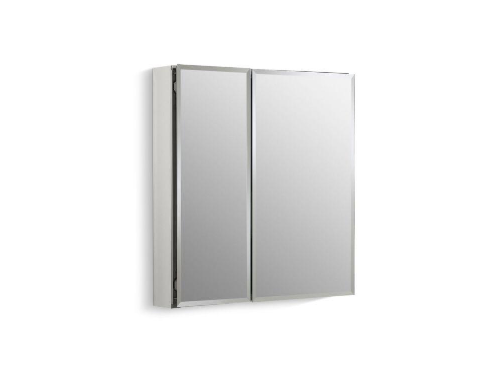 Double Door 25 Inch W X 26 Inch H X 5 Inch D Aluminum Cabinet With Square Mirrored Door In Silver Mirror Door Tempered Glass Shelves Beveled Mirror