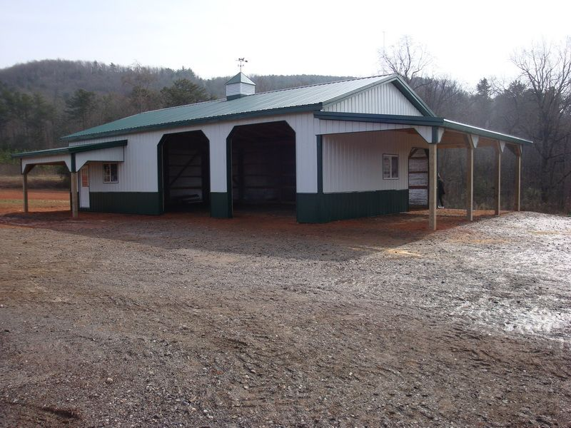 30x50x12 with 8x16 Shed and 12x30 Porch Garage www