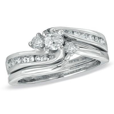 12 CT TW Diamond Three Stone Swirl Bridal Set in 14K White