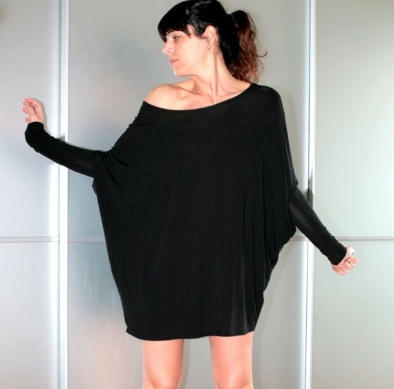Black Oversized Mini Dress Long Top Dolman Sleeves by ChiccaStyle, $69.00