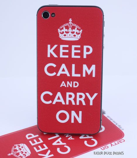 Keep Calm and Carry on iPhone 4, iPhone 4s Skin. $6.00, via Etsy.