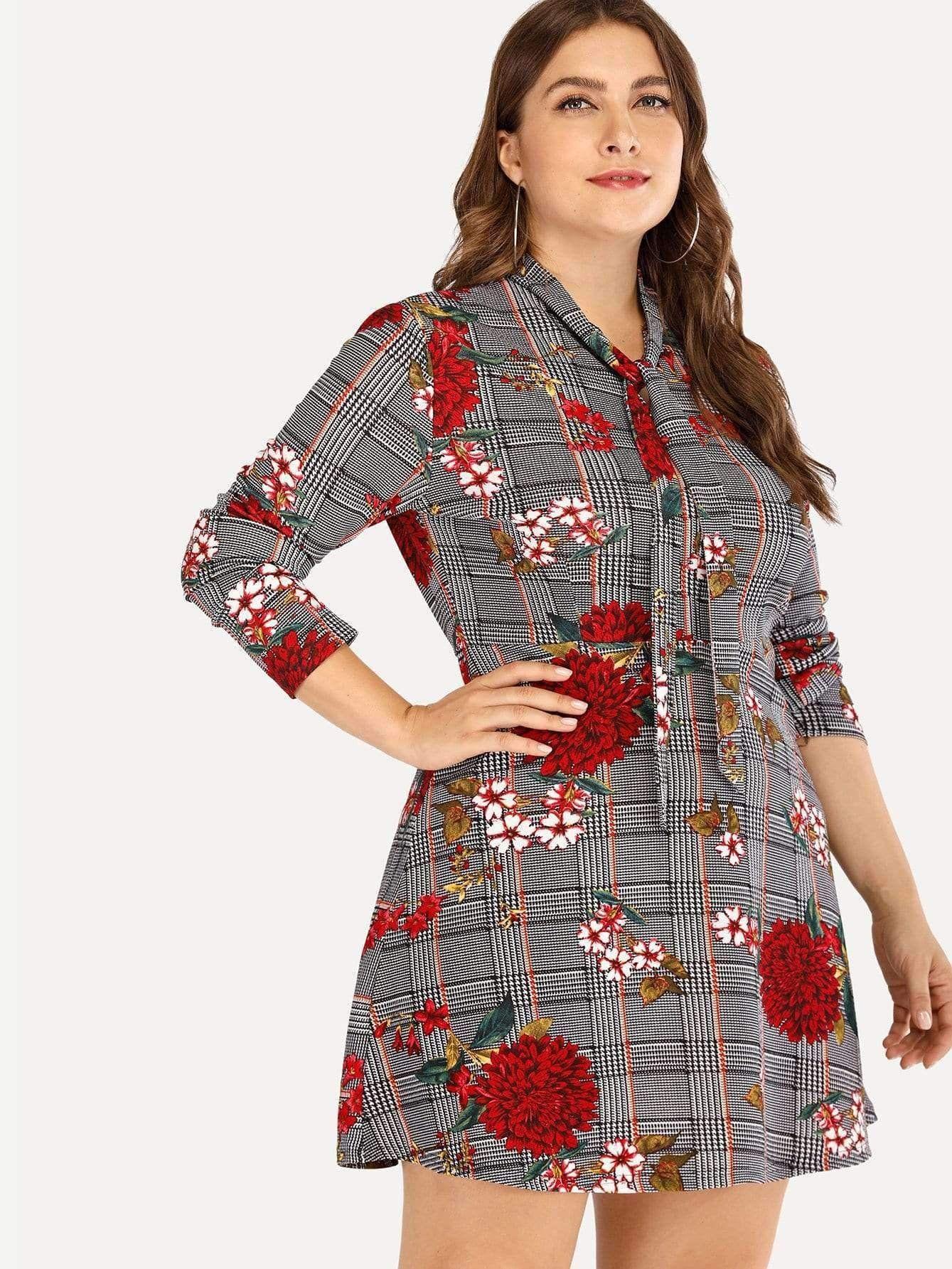 b1e694ba58b Floral Embroidered Dress   Plus Size Collection   Dresses, Plaid ...