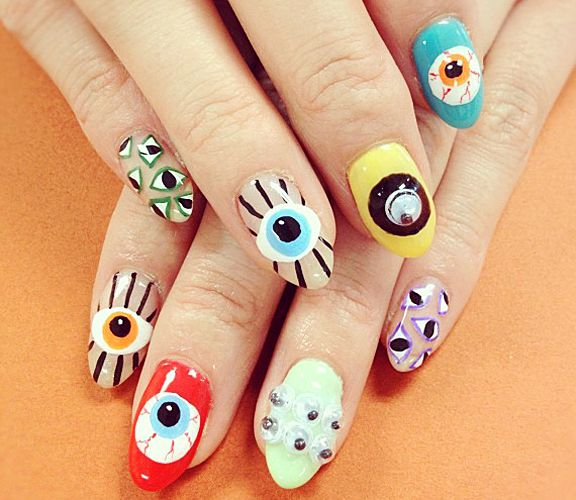 if you want to see unique and amazing eye nail art designs for your  parties. Check here 30 superb eye nail art designs and ideas Photos. - We Can't Stop Seeing Eyeball Nail Art Everywhere Eye, Bling