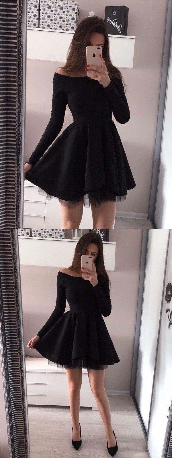 Schulterfreies langärmliges schwarzes TüllKleid Kurze Ballkleider BD   Kleider