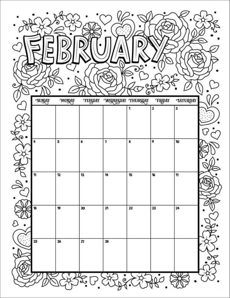 February Calendar Flower Theme Coloring Pages Tulisan