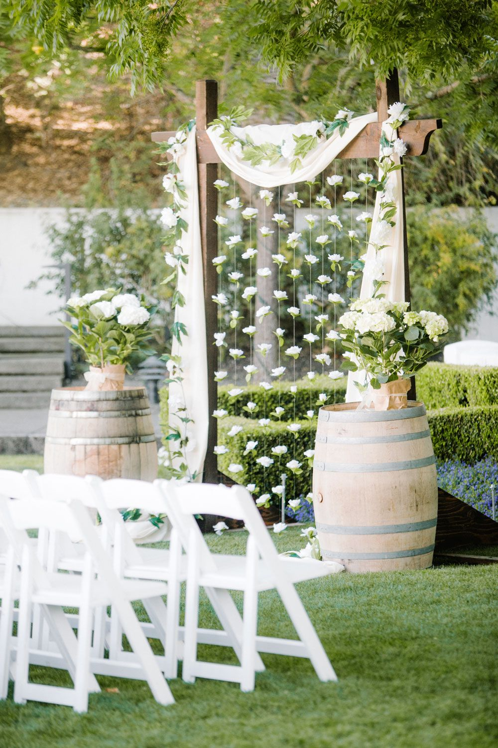 cute ceremony set up with handmade paper cranes at the alter
